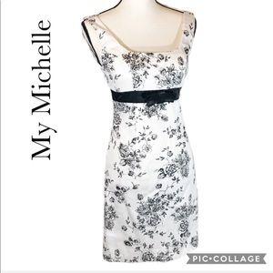 My Michelle black white floral dress 3/4